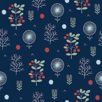 원활한 크리스마스 자연 패턴 겨울 숲 진한 파란색 추상 나무 밤 배경