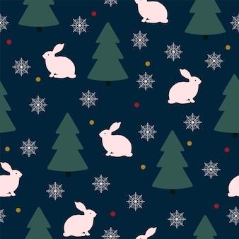 원활한 크리스마스 자연 패턴 겨울 숲 진한 파란색 토끼 나무 눈송이 밤 배경