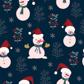 Seamless christmas nature pattern, winter forest, dark blue, red colours, trees, snow, night, black background. fabric material, packaging, wallpaper, design for textiles, vector illustration