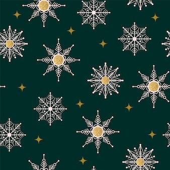 원활한 크리스마스 자연 패턴 겨울 숲 녹색 배경 눈송이 골드 질감 새해