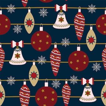 원활한 크리스마스 자연 패턴 겨울 새 해 데코 진한 파란색 배경