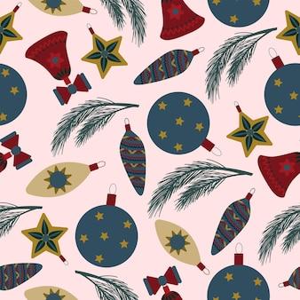 シームレスなクリスマスの自然パターン冬の木ボール新年の装飾白い背景