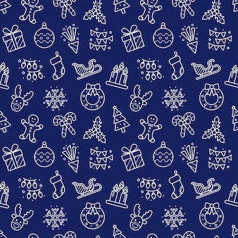 Seamless christmas and new year background, vector illustration