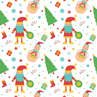 Seamless christmas and new year pattern snowman elf and decor wrapping paper textiles