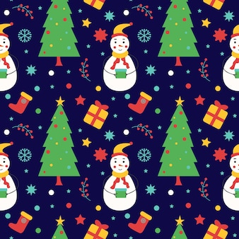 Seamless christmas and new year pattern snowman with decorative elements wrapping paper textiles