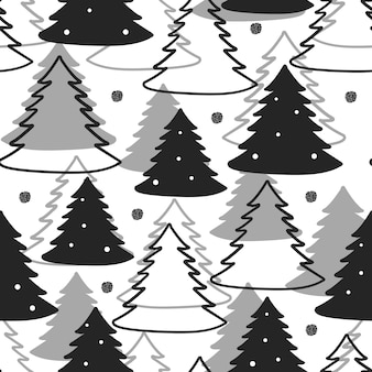 Seamless christmas pattern background with black glitter and monochrome pine tree