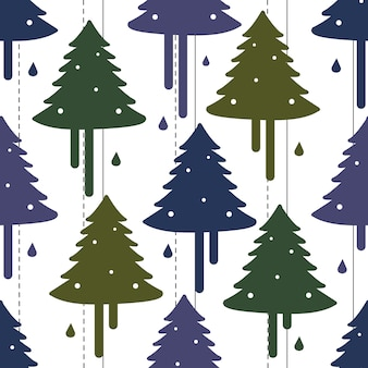 Seamless christmas pattern background with colorful pine tree