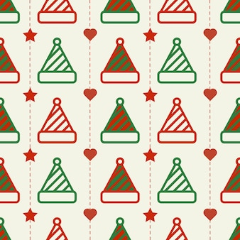 Seamless christmas pattern background with red and green hat