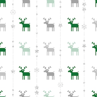 Seamless christmas pattern background with reindeer,star and snowflake
