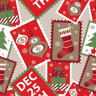 Seamless christmas pattern background with traditional ornament
