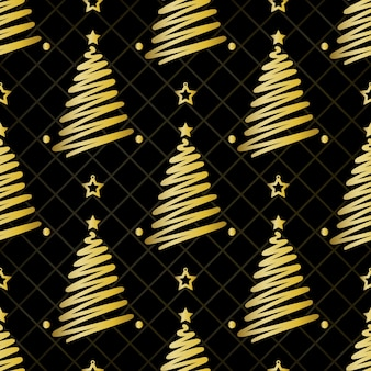 Seamless christmas pattern on black background with gold pine tree and star