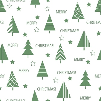 Seamless christmas pattern of decorated new year trees