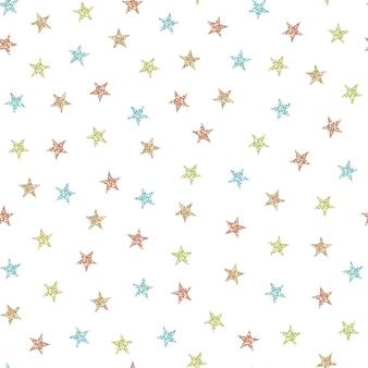 カラフルなキラキラ星からのシームレスなクリスマスパターン