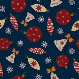 원활한 크리스마스 패턴 선물 새 해 크리스마스 장식 눈송이 진한 파란색 배경