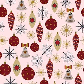 원활한 크리스마스 패턴 선물 새 해 크리스마스 장식 눈송이 흰색 배경