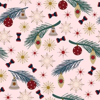 원활한 크리스마스 패턴 선물 가문비나무 분기 크리스마스 장식 눈송이 흰색 배경