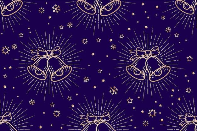 Seamless christmas pattern, golden sign jingle bells