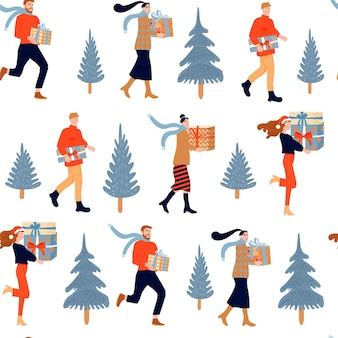 Seamless christmas pattern happy people with gifts and firtree