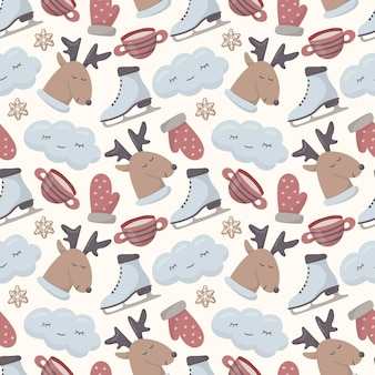 Seamless christmas pattern. isolated cute doodle winter images.