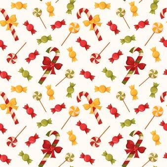 Бесшовные рождественские красные конфеты и желтые леденцы милый дизайн подарочной упаковочной бумаги