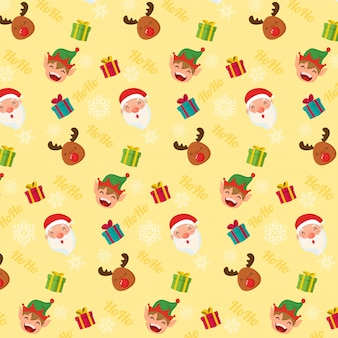 Seamless christmas pattern. santa clous reindeer and elf