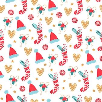 シームレスなクリスマスパターン。休日のアイテムとベクトル冬の背景