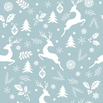 Seamless christmas pattern white tree, deer, leaves, decorations, snowflakes