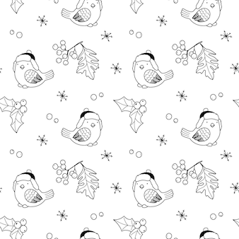 Seamless christmas pattern with birds holly berries and holiday elements