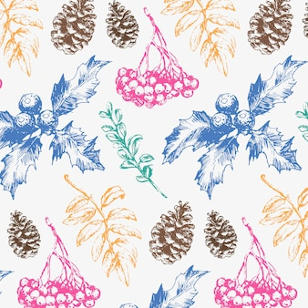 Seamless christmas pattern with blue and green fir branches, cones and berries.
