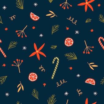 枝と果実とのシームレスなクリスマスパターン