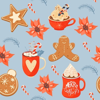 Seamless christmas pattern with cacao drink ginger cookie poinsettia and lollipop