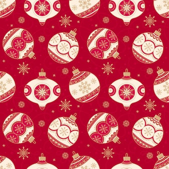Seamless christmas pattern with christmas balls on a red background.