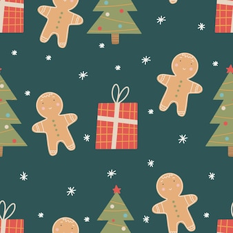 Seamless christmas pattern with christmas tree, gingerbread man and gifts.