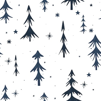 Seamless christmas pattern with christmas trees. dark spruce on a white background. minimalistic design. vector illustration