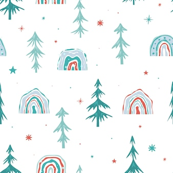 Seamless christmas pattern with christmas trees. green spruce and a new year's rainbow on a white background. minimalistic design. vector illustration