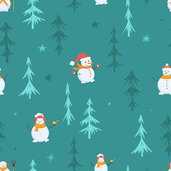 Seamless christmas pattern with christmas trees. green spruce and a white snowman on the background. minimalistic design. vector illustration