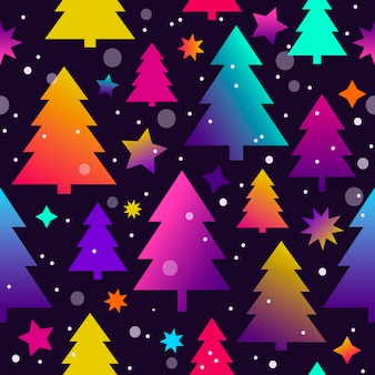 Seamless christmas pattern with christmas trees and stars