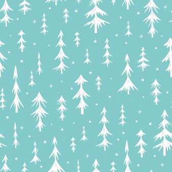 Seamless christmas pattern with christmas trees. white spruce on a green background. vector illustration