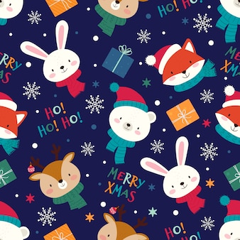 Seamless christmas pattern with cute animals