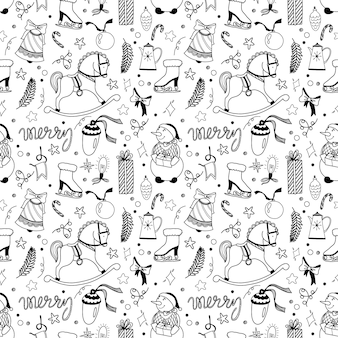 Seamless christmas pattern with cute characters and holiday elements