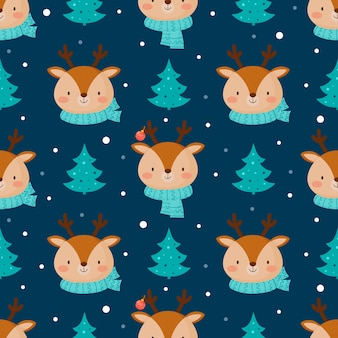Seamless christmas pattern with cute deer.