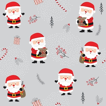Seamless christmas pattern with cute santa and christmas ornaments.