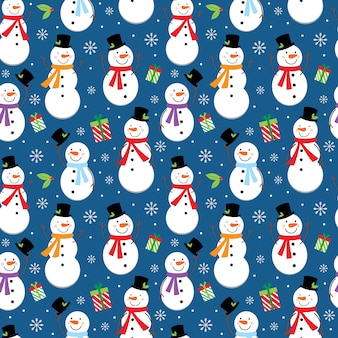Seamless christmas pattern with cute snowman design