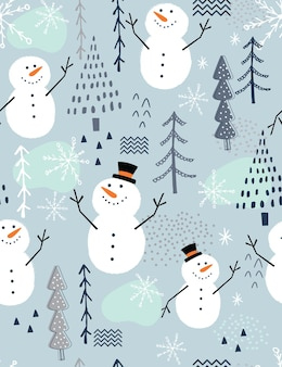 Seamless christmas pattern with cute snowman and tree