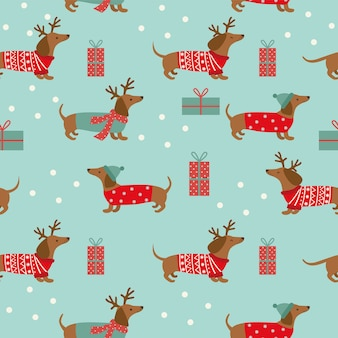 Seamless christmas pattern with dachshund and snowflakes on blue background.