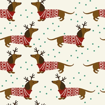 Seamless christmas pattern with dachshund and snowflakes on white background.