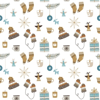 Seamless christmas pattern with decorative ornaments, socks, mittens and hats