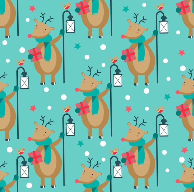 Seamless christmas pattern with deer and lantern.