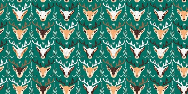 Seamless christmas pattern  with deer vector illustration