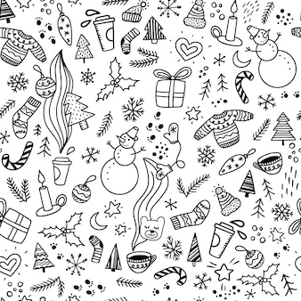 Seamless christmas pattern with doodles